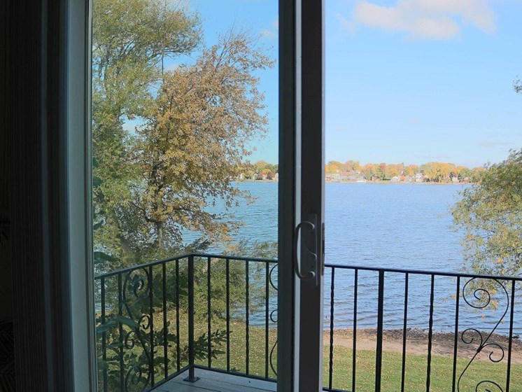 Balcony Overlooking Water at Long Pond Shores Waterfront Apartments, Rochester, NY