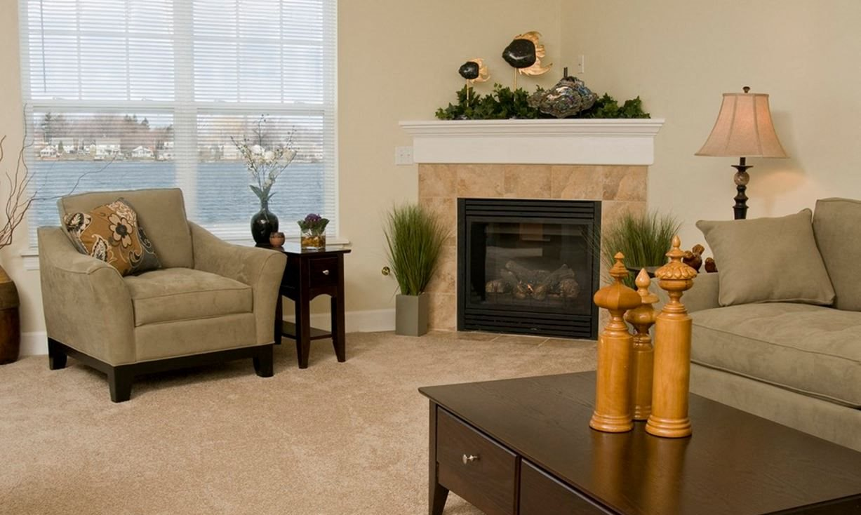 Living Room with Fireplace at Long Pond Shores Waterfront Apartments, Rochester, NY