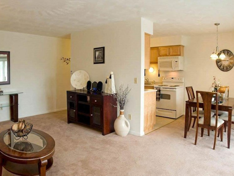 Living Room Come Kitchen View at Winton Village Apartments, Rochester