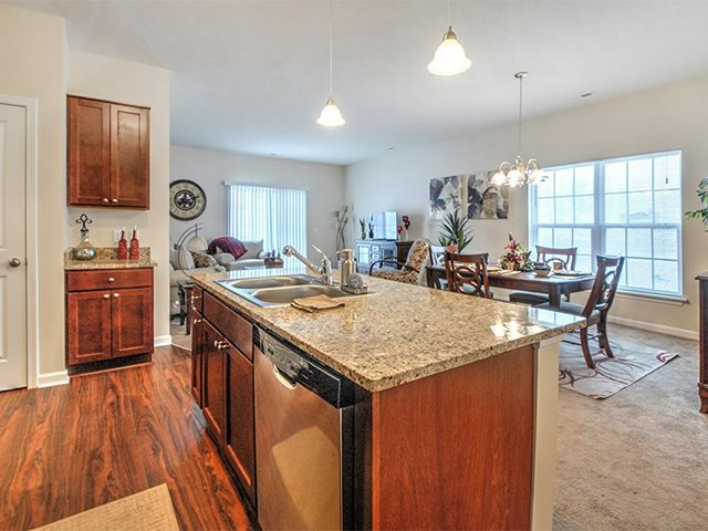 Open Living Room with Kitchen at Pleasant Meadows