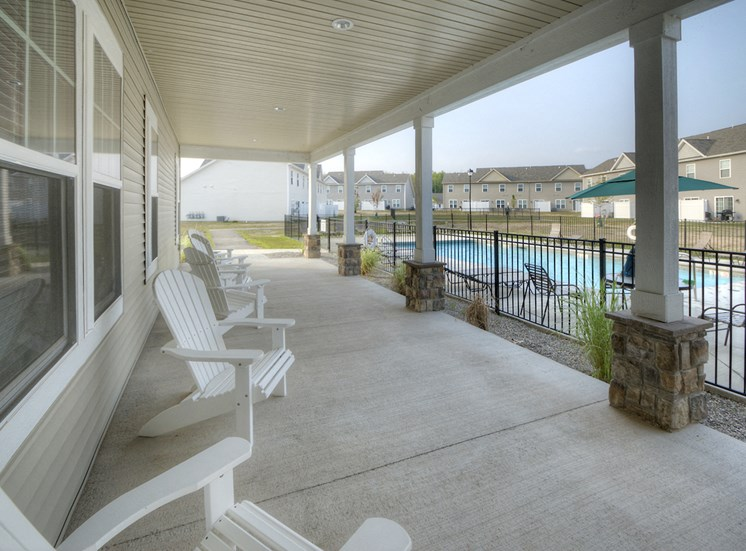 Sitting Area Facing Pool at Townhomes at Pleasant Meadows, New York, 14086
