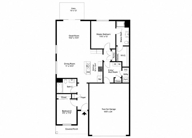 Two Bedroom Ranch at Townhomes at Pleasant Meadows, Lancaster, 14086