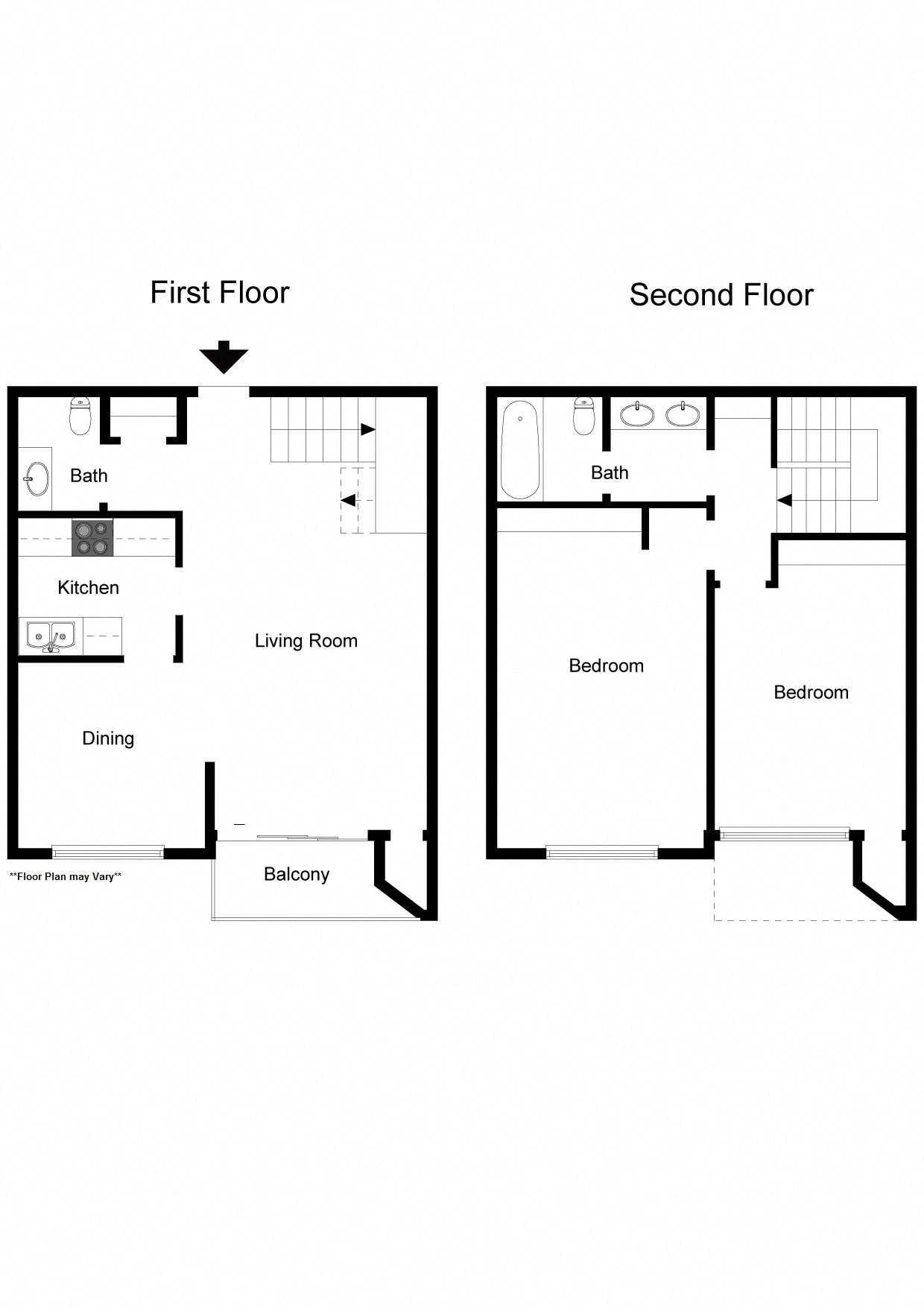 2 Bedroom, 1.5 Bath Two Story Apartment Floor Plan 6