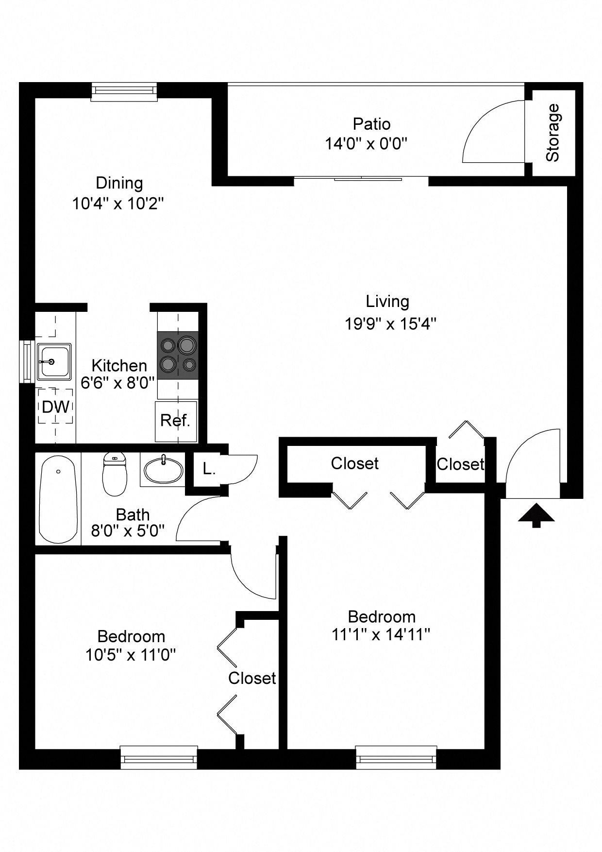 100 2 Bedroom 1 Bath Apartments Sunset Drive