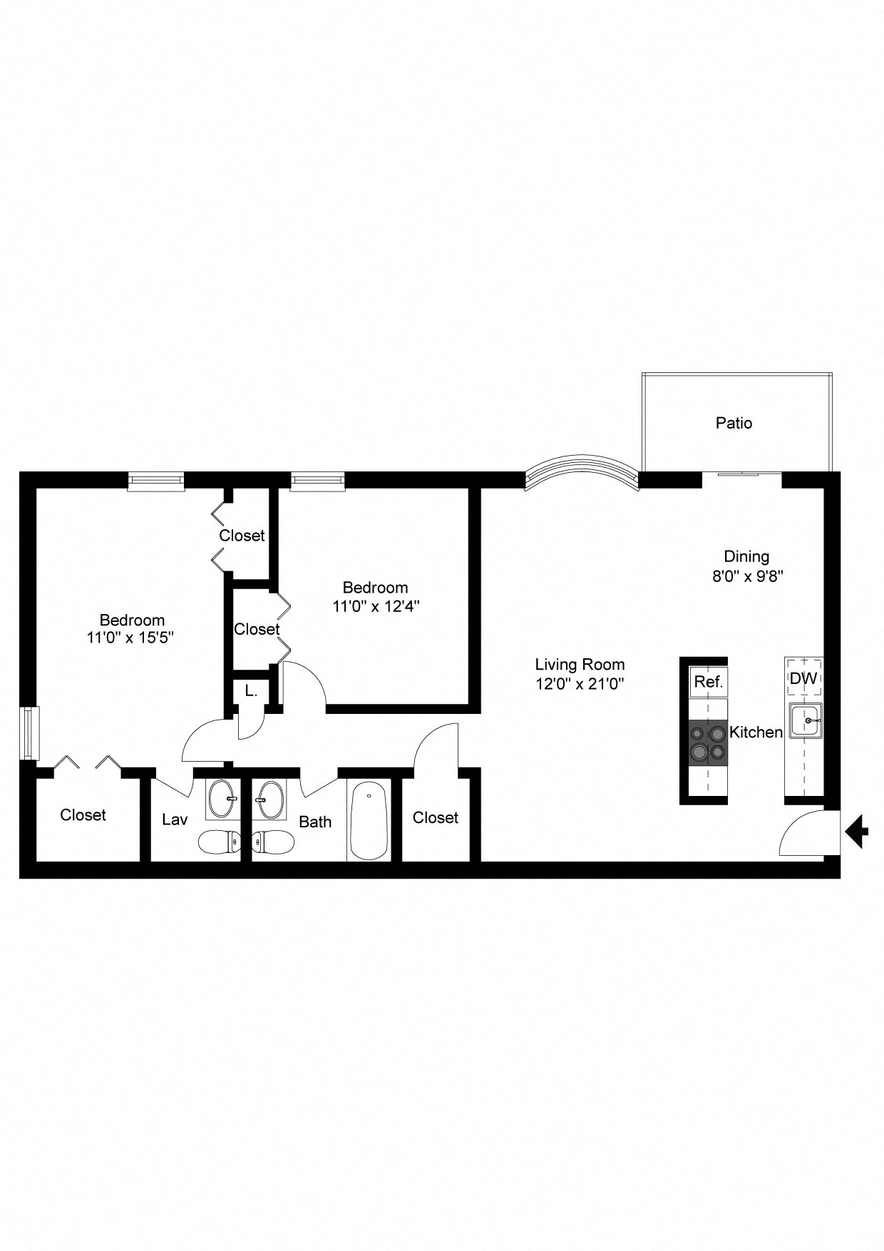 2 Bedroom Apartment Floor Plan 9