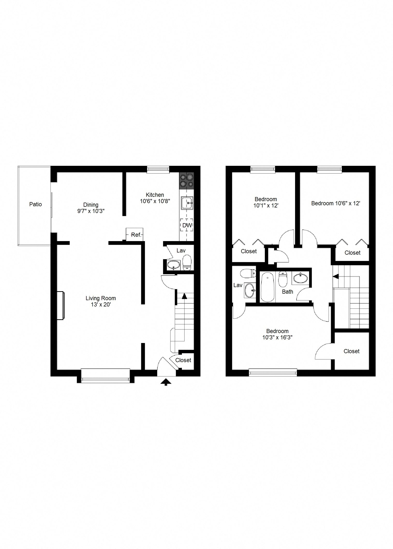 3 Bedroom, 1 Full & 2 Half Baths Townhome Floor Plan 14