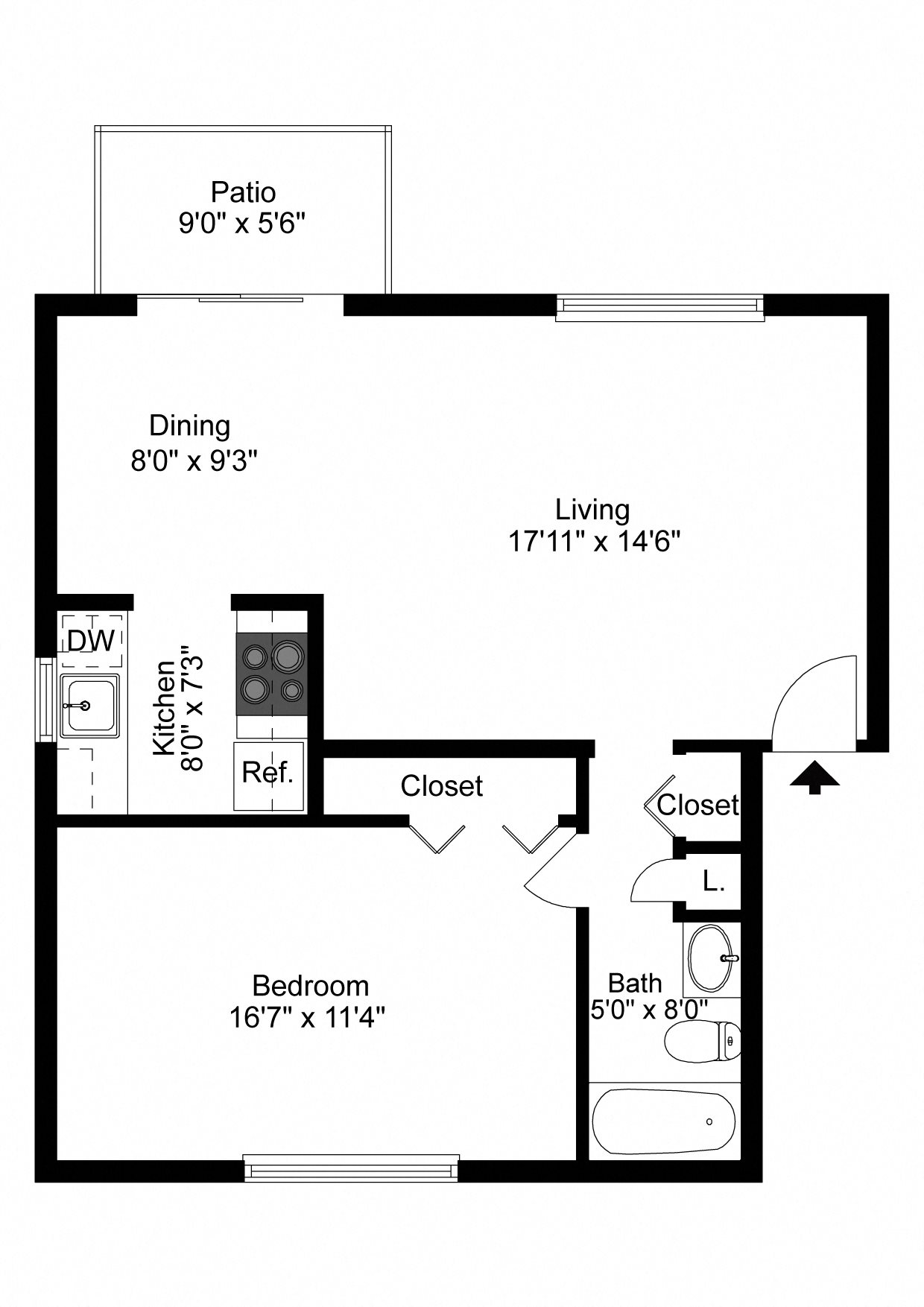 1 Bedroom Apartment Floor Plan 2