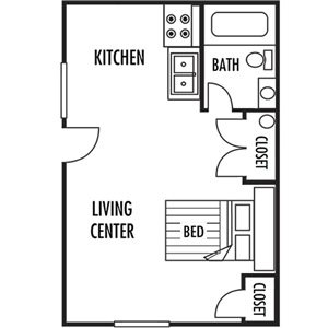 Studio Floor Plan at Westwood Apartments in Gaffney, South Carolina, SC, 29341