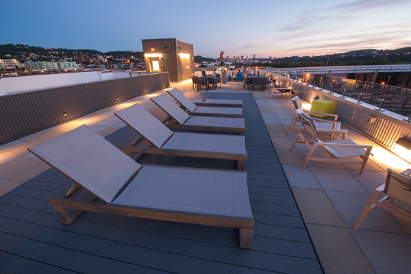 Rooftop Terrace with Stunning Sunset Views The Foundry at 41st Apartments, Lawrenceville, Pittsburgh, PA