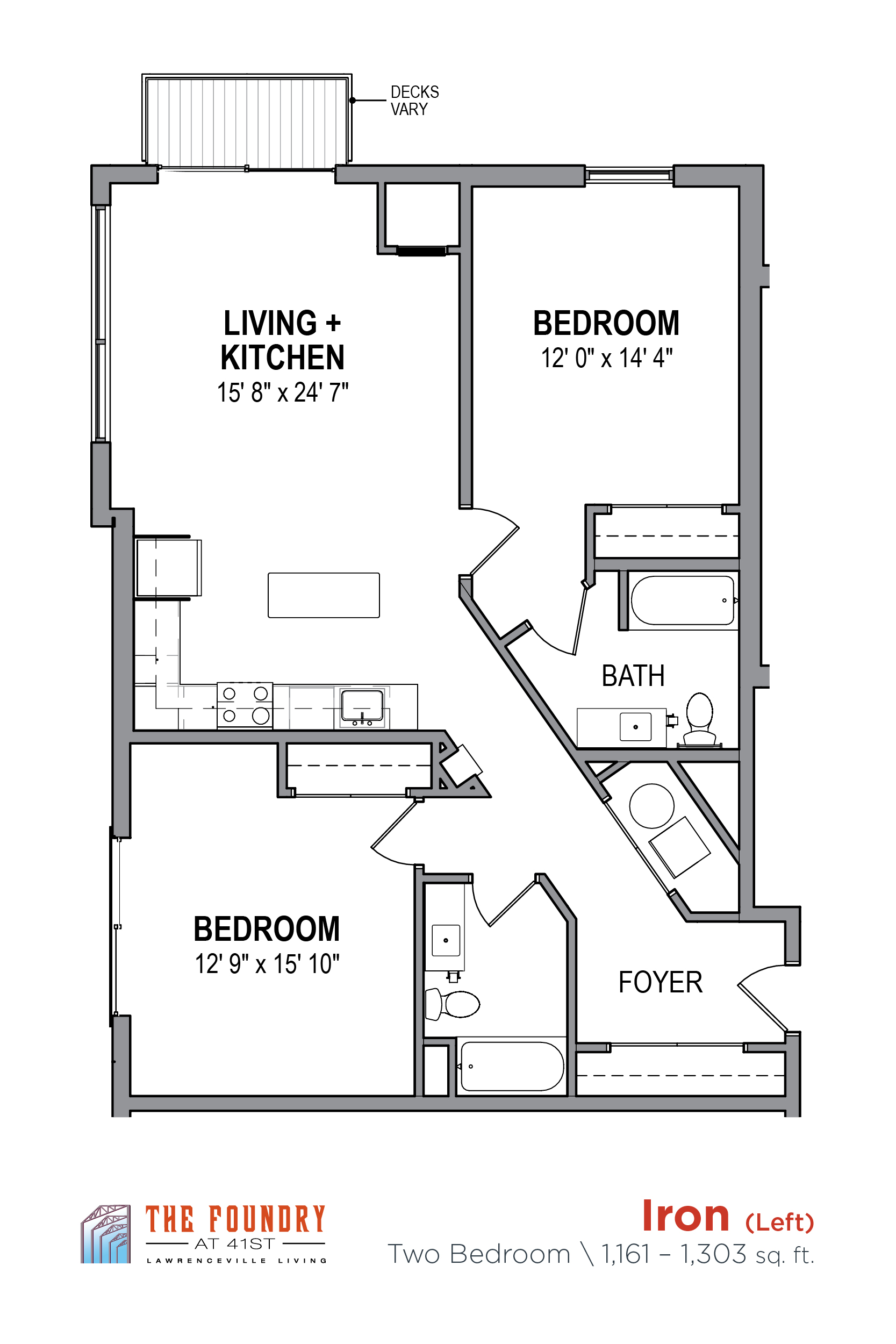 Floor Plan of the Foundry Iron L Apartment, at The Foundry at 41st Apartments, Lawrenceville, Pittsburgh, PA