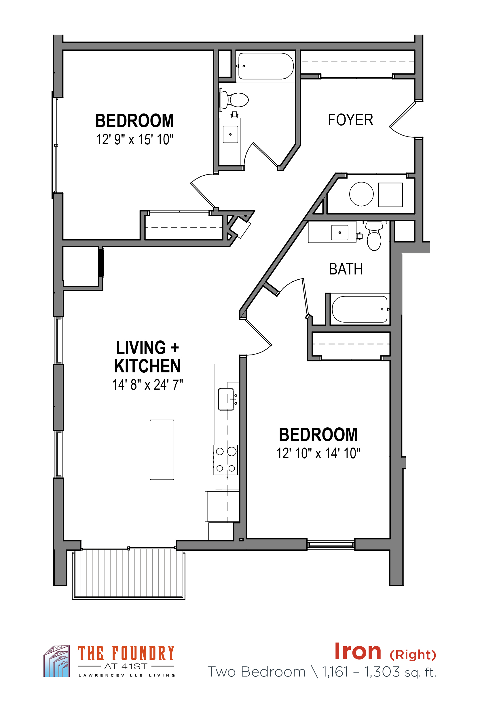 Studio, 1 & 2 Bedroom Apartments | The Foundry at 41st | Floor Plans