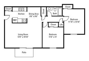 2 Bedroom, 1 Bath 1,000 sq. ft.