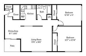 2 Bedroom, 1 Bath 1,010 sq. ft.