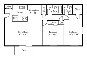 2 Bedroom, 1.5 Bath 1,104 sq. ft.