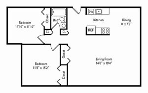 2 Bedroom, 1 Bath 900 sq. ft.