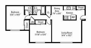 2 Bedroom, 1.5 Bath 1,027 sq. ft.