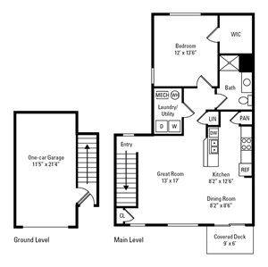 1 Bedroom, 1 Bath 902 sq. ft.