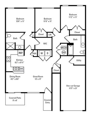 3 Bedroom, 2 Bath 1,276 sq. ft.