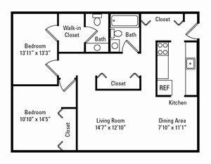 2 Bedroom, 1.5 Bath 1,150 sq. ft.