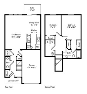 2 Bedroom, 1.5 Bath Townhome 1,156 sq. ft.