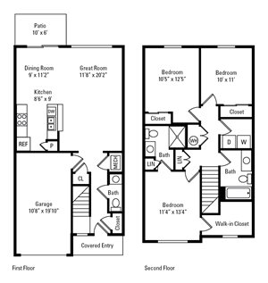 3 Bed, 2.5 Bath Townhome 1,334-1,405 sq. ft.