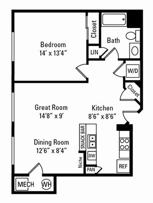 1 Bedroom, 1 Bath 797 sq. ft.