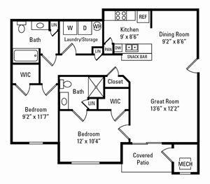 2 Bedroom, 2 Bath 1,058 sq. ft.