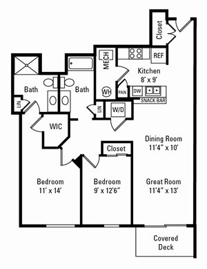 2 Bedroom, 2 Bath 1,109 sq. ft.
