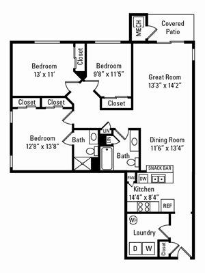 3 Bedroom, 2 Bath 1,429 sq. ft.