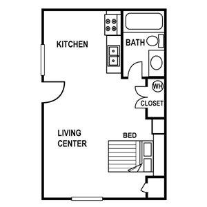 Studio Floor Plan at Huntington Apartments in Concord, North Carolina, NC