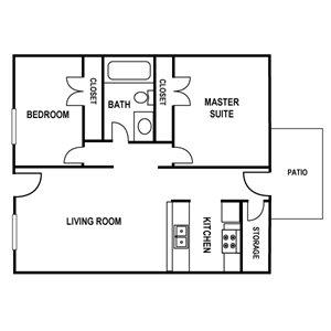 2 Bedroom Floor Plan at Huntington Apartments in Concord, North Carolina, NC