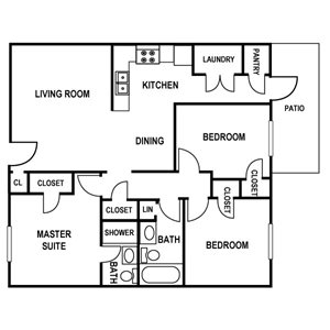 3 bedroom Floor Plan at Huntington Apartments in Concord, North Carolina, NC