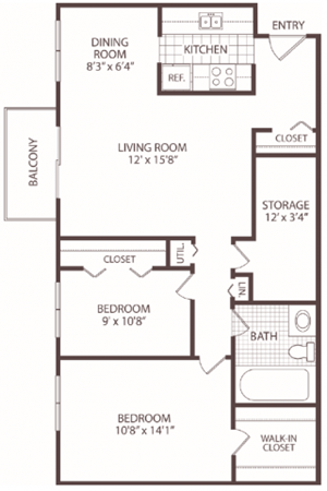 2 Bedroom / 1 Bath