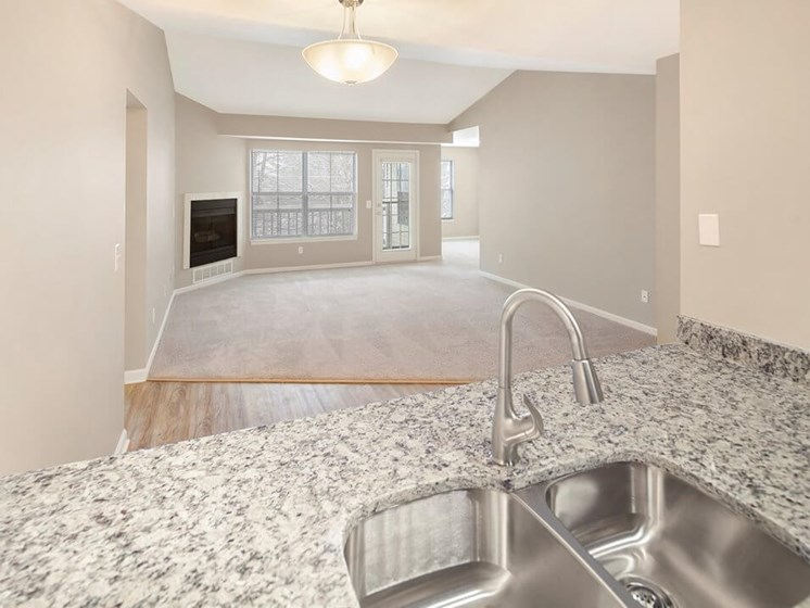 spacious kitchen counter tops at Burwick Farms apartments