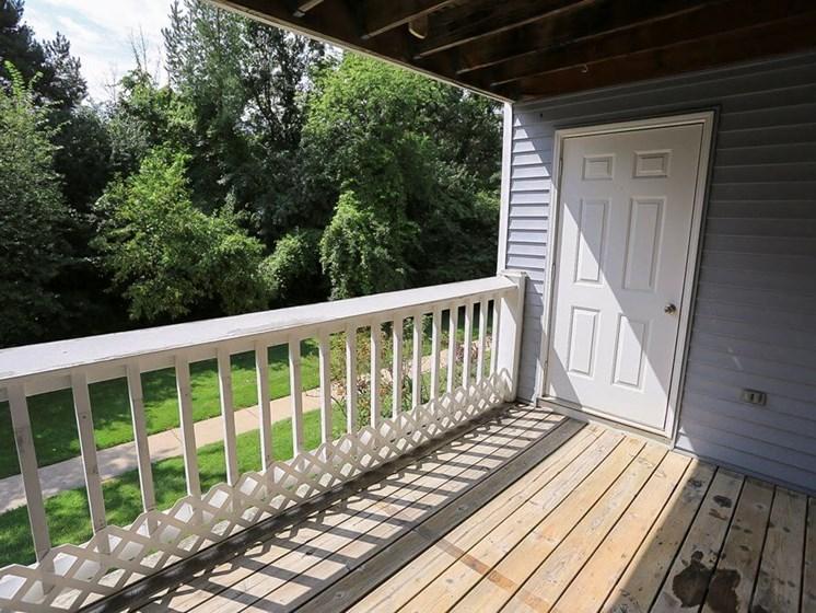 spacious balconies at Burwick Farms apartments