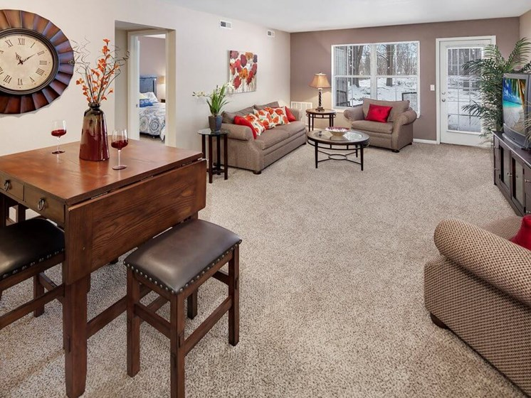 living room apartments with large windows in Howell MI