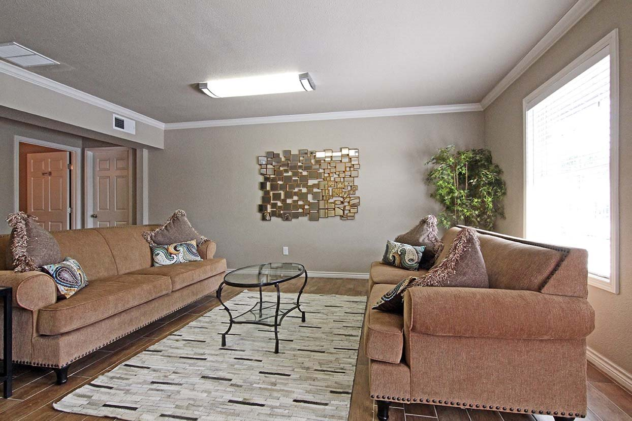 Decorated Living Room at Brookside Apartments in TX, 76643