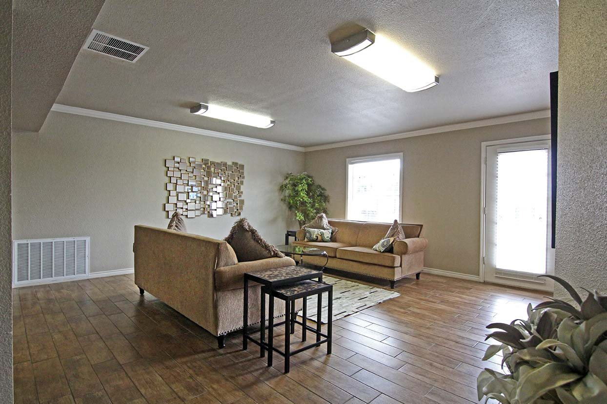 Model Apartment Living Room at Brookside Apartments in TX, 76643