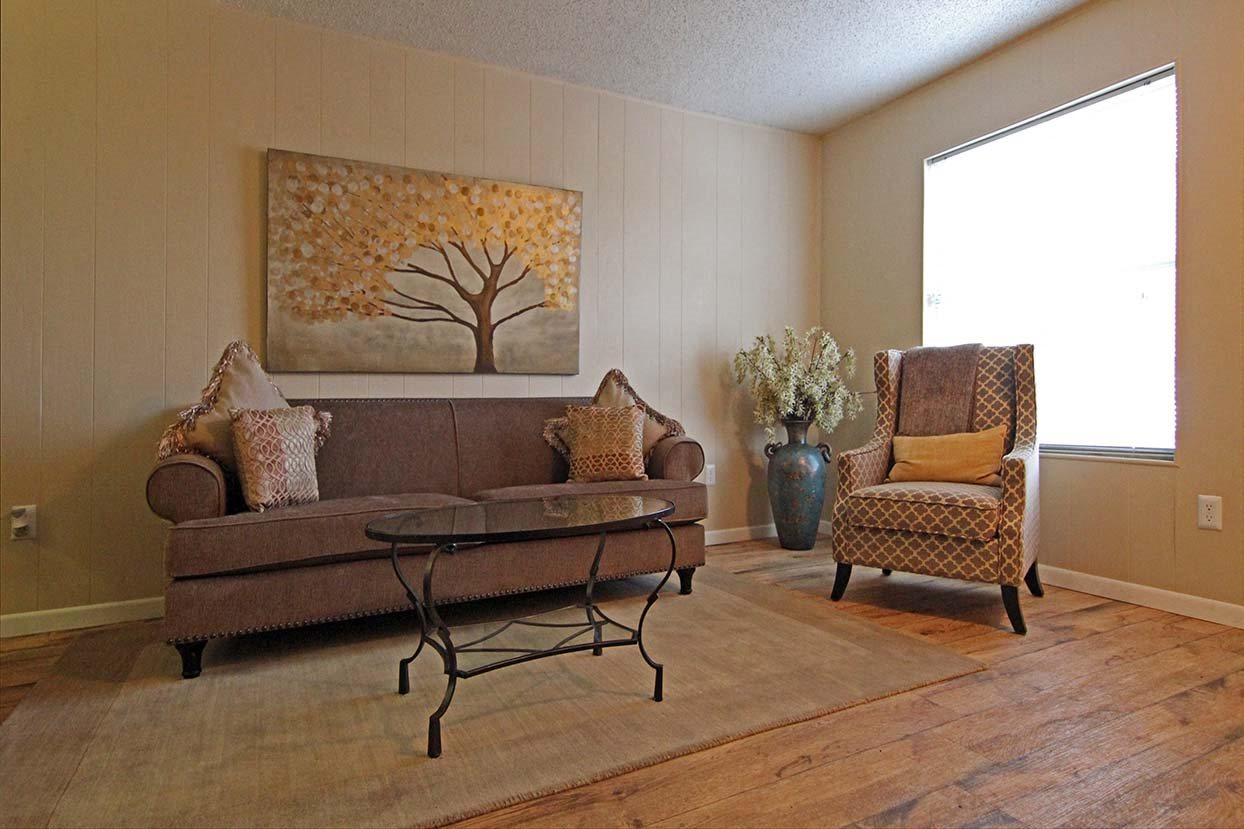 Model Living Room at Brookside Apartments in Hewitt, TX