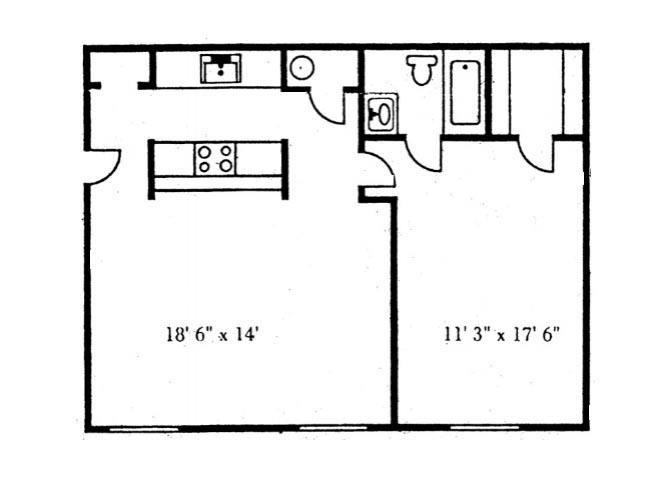 One Bedroom Floor Plan at Brookside Apartments, Hewitt, TX, 76643