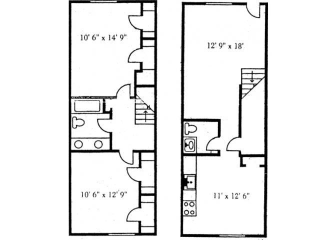 2 Bedroom Townhome with W/D Floor Plan at Brookside Apartments, Hewitt, Texas