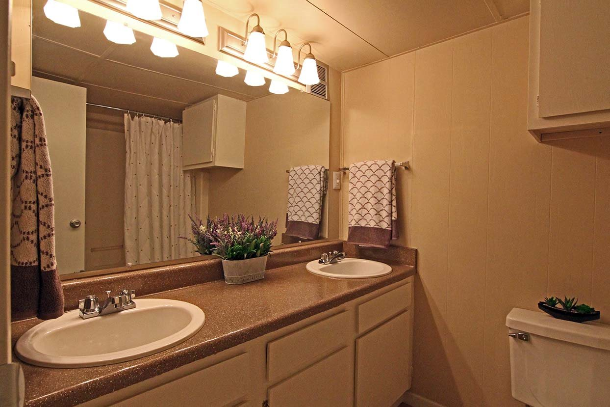 his-and-her bathroom sink at Brookside Apartments in Hewitt, TX