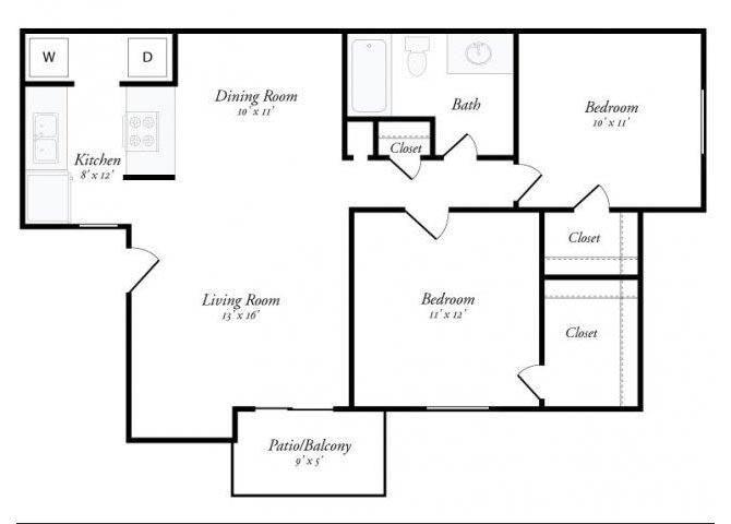 2 Bed 1 Bath - 2A Floorplan at Summit Ridge Apartments, Temple, Texas