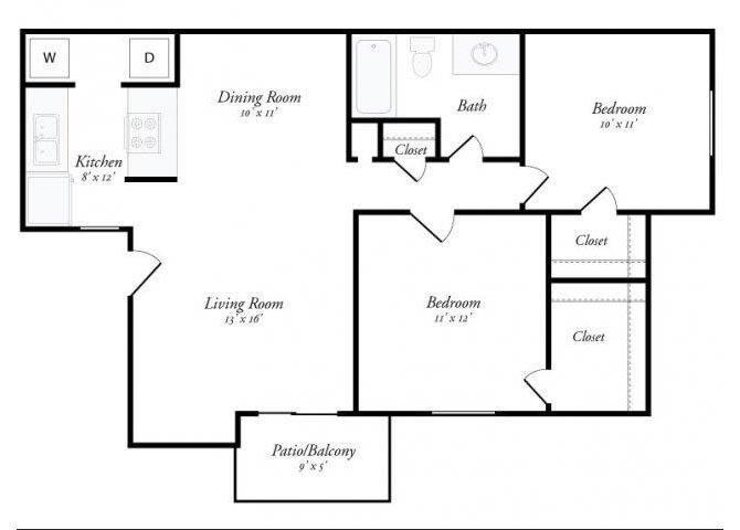 2 Bed 1 Bath - 2A Floor Plan 4