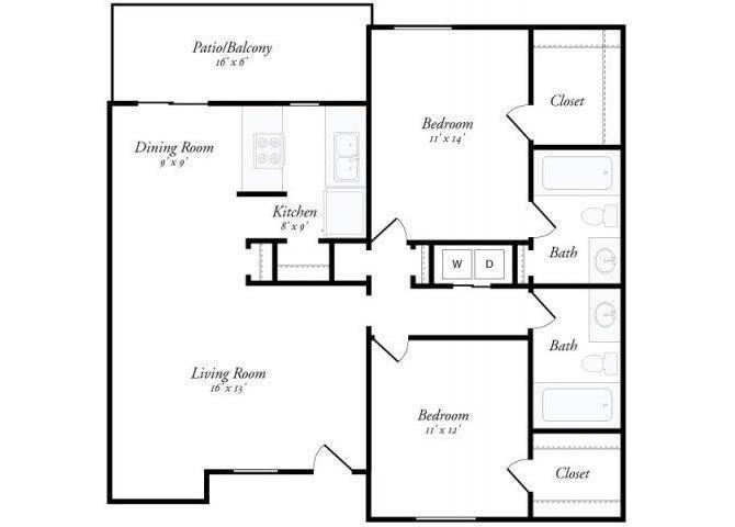 2 Bed 2 Bath - 2B Floor Plan 5
