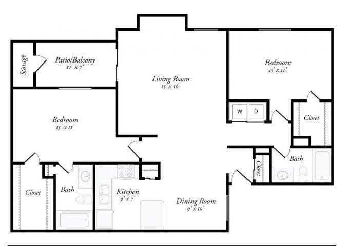 2 Bed 2 Bath - 2D Floorplan at Summit Ridge Apartments, Texas, 76502