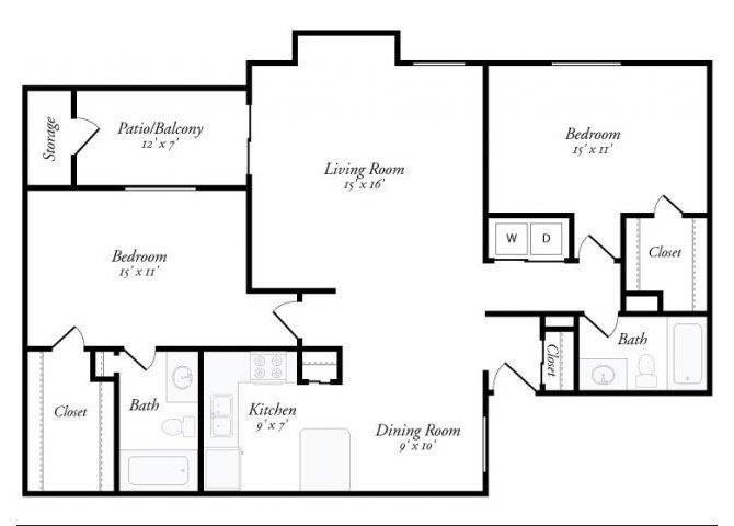 2 Bed 2 Bath - 2D Floor Plan 7