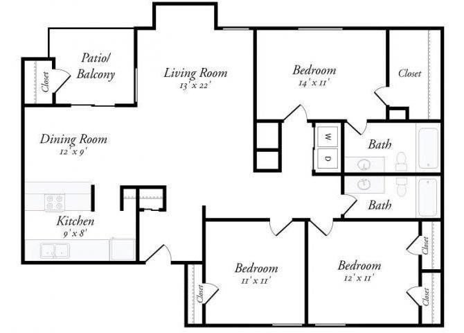 3 Bed 2 Bath - 3A Floor Plan 8