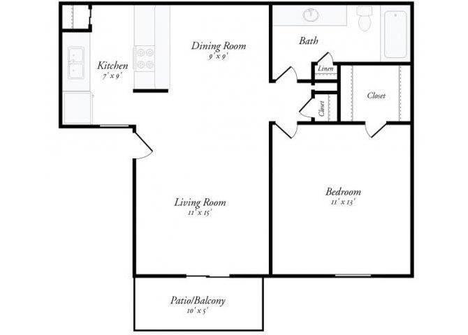 1 Bed 1 Bath - A1 Floorplan at Summit Ridge Apartments, Temple, TX, 76502