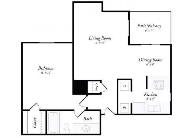 1 Bed 1 Bath - A2 Floor Plan 2